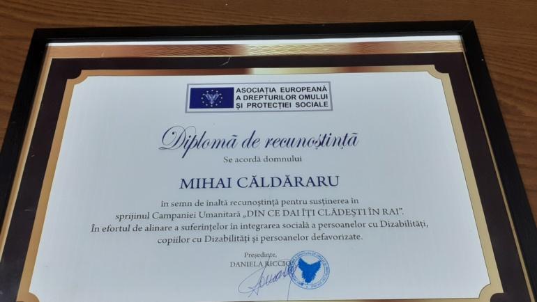 Diplomă de Recunoștință domnului Mihai Căldăraru