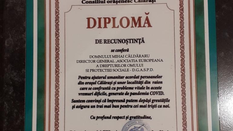 Primăria orașului Călărași vine cu mesaj de recunoștință și mulțumire față de Asociația Europeană a Drepturilor Omului și Protecției Sociale