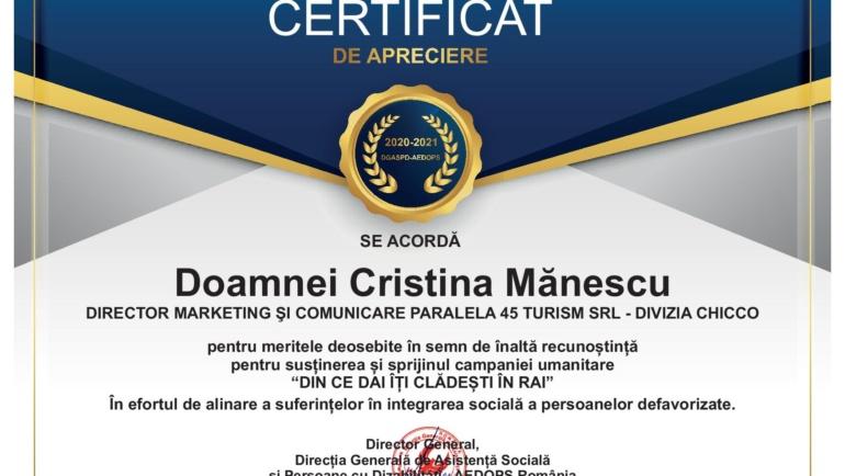 Astăzi domnul Mihai Căldăraru Directorul General al  Direcției Generale de Asistență Socială și Persoane cu Dizabilități  a oferit Certificate de apreciere.