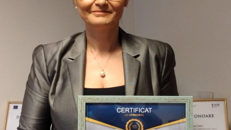 Doamna Alina- Mihaela  Toma, Președinte – Director General al Fondului de Garantare a Creditului  Rural IFN. S.A. a primit Certificat de apreciere!